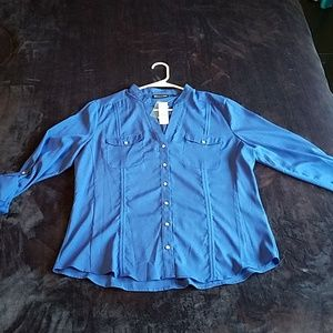 NYC Royal Blue Button Up Blouse